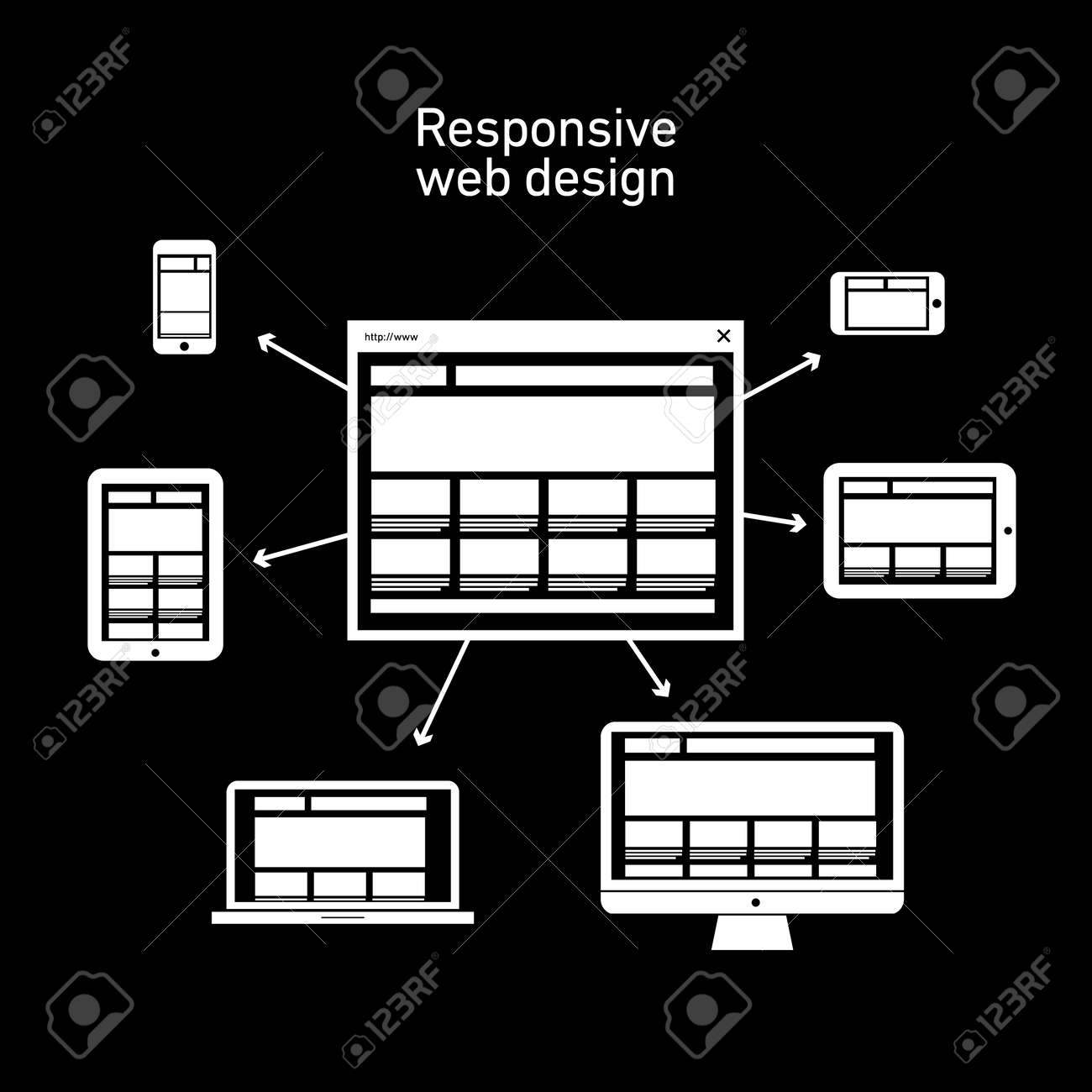 responsive web design scheme on different devices and platforms | vector flat design infographic white on black background Stock Vector - 27595620