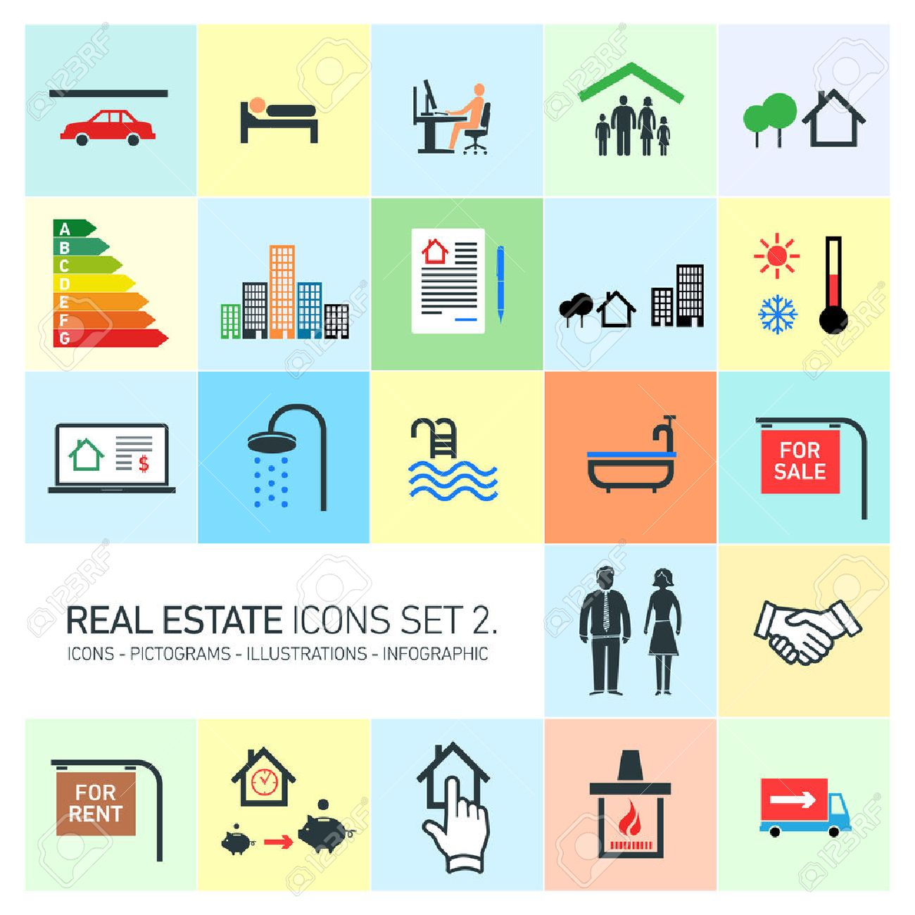 vector real estate icons set modern flat design pictograms on colorful background - 29109875