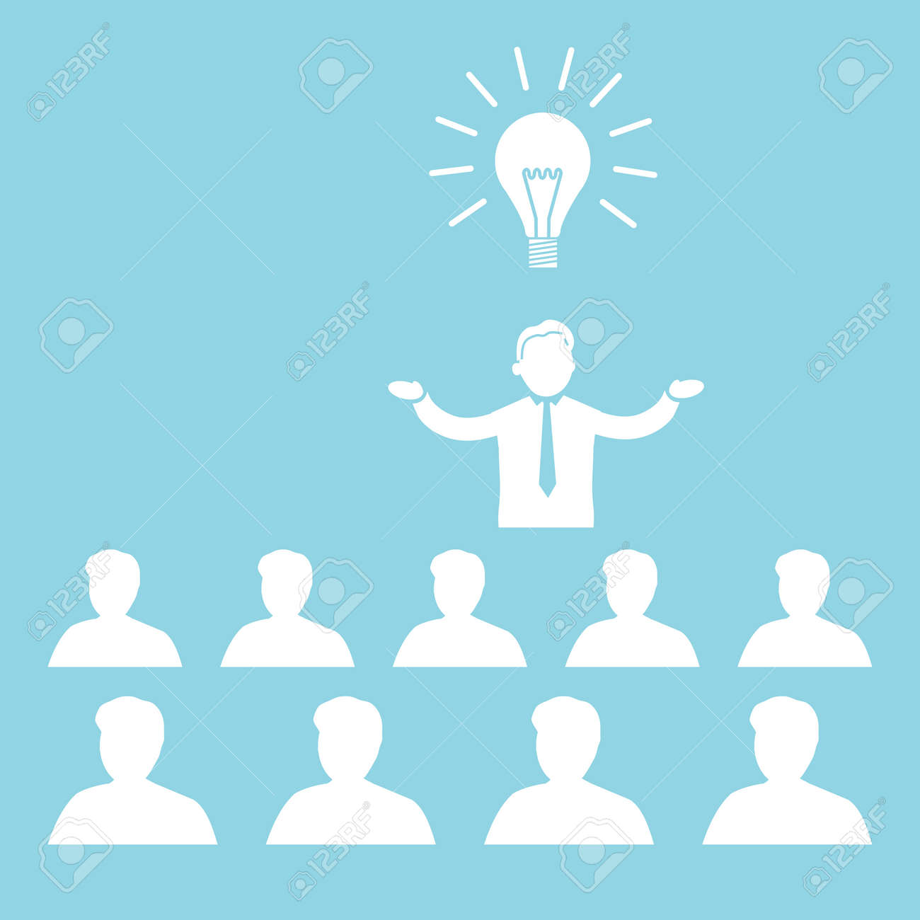 Flache Design Business Symbol Des Manager Präsentiert Neue Idee Auf ...