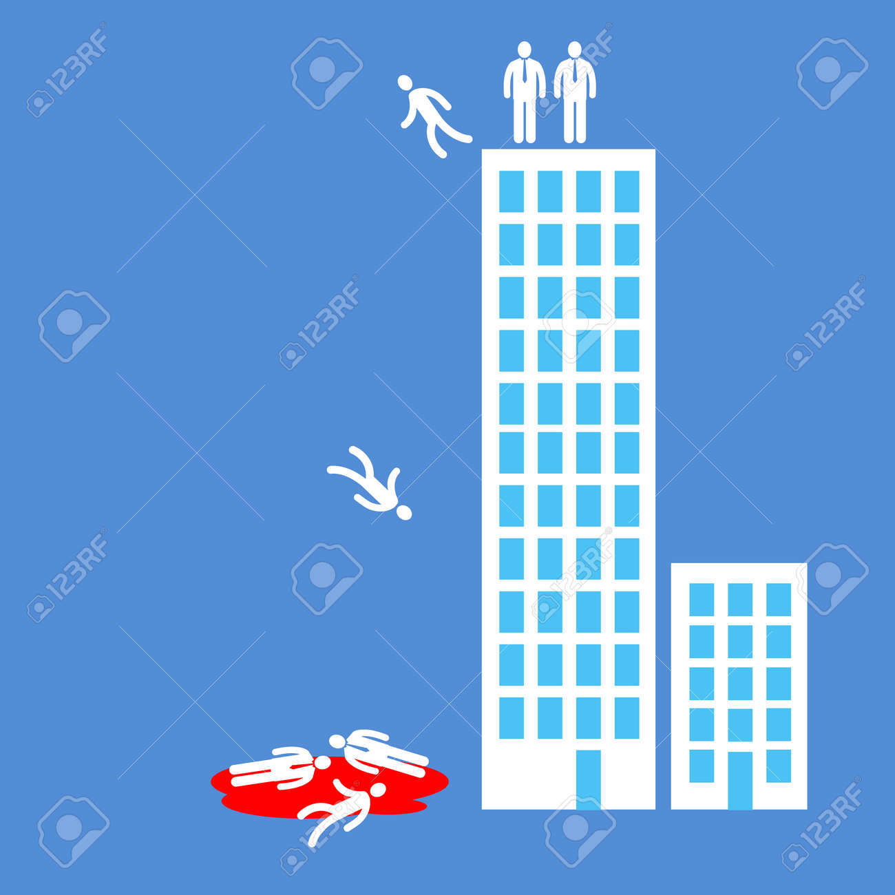 Flat Design Business Icon Of Managers Jumping From Office Building