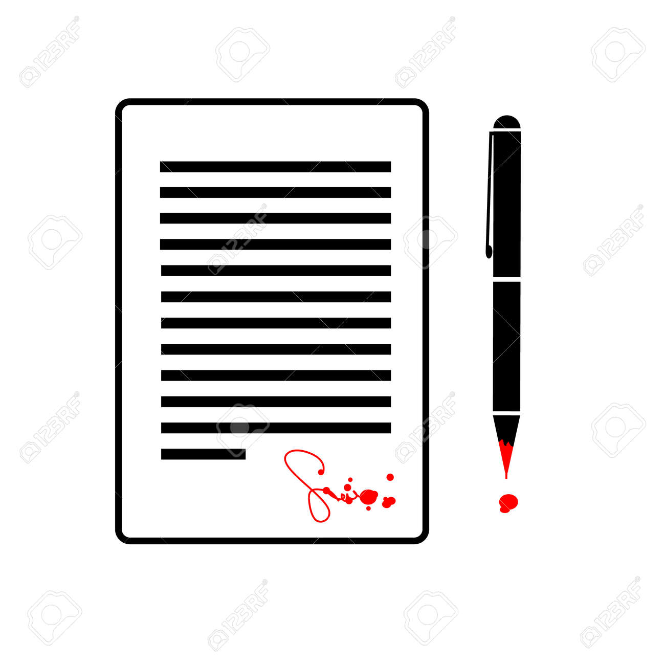 flat design business icon of contract with devil signed by blood