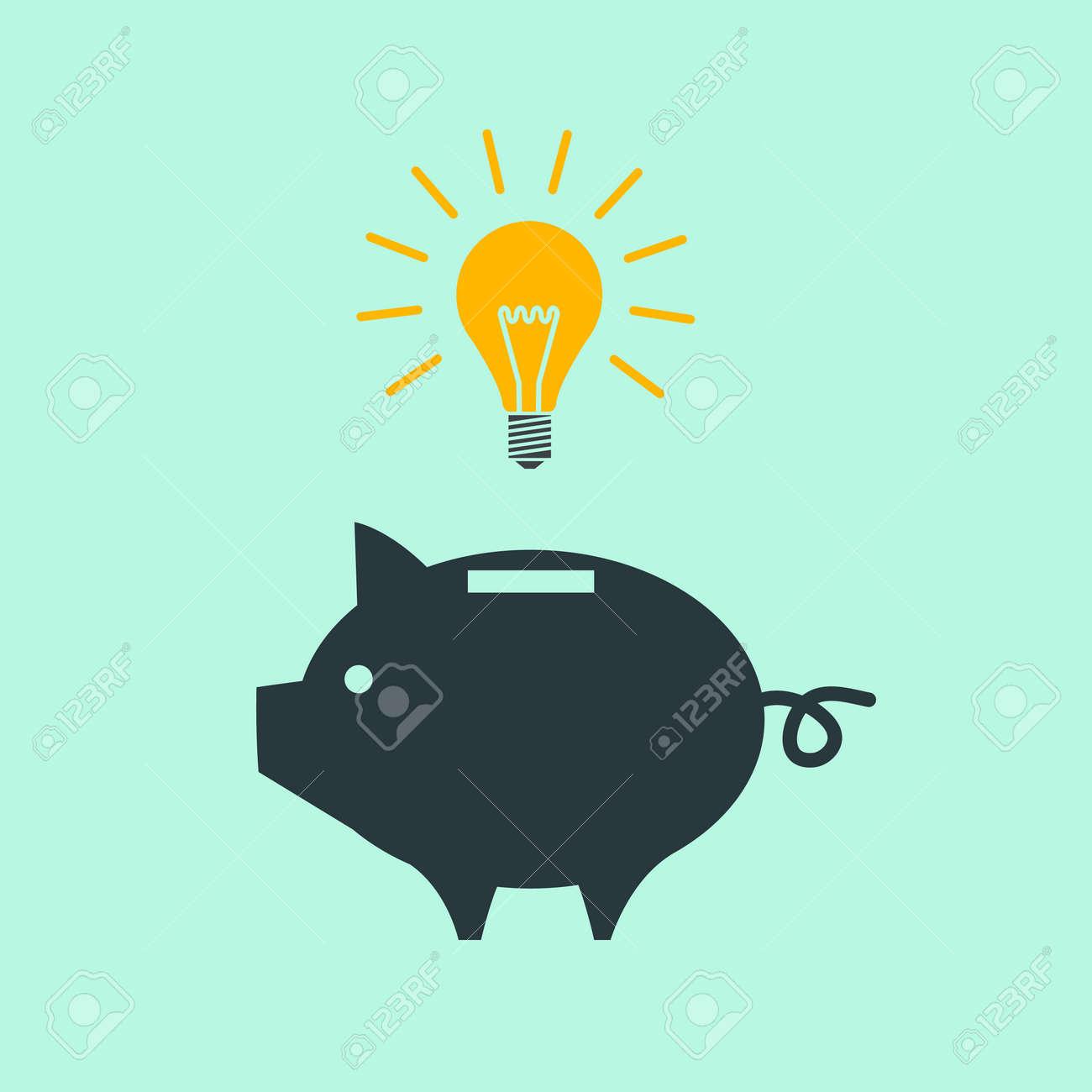 Vektor Piggy Spardose Neue Idee Mit Glühlampe Symbol | Moderne ...