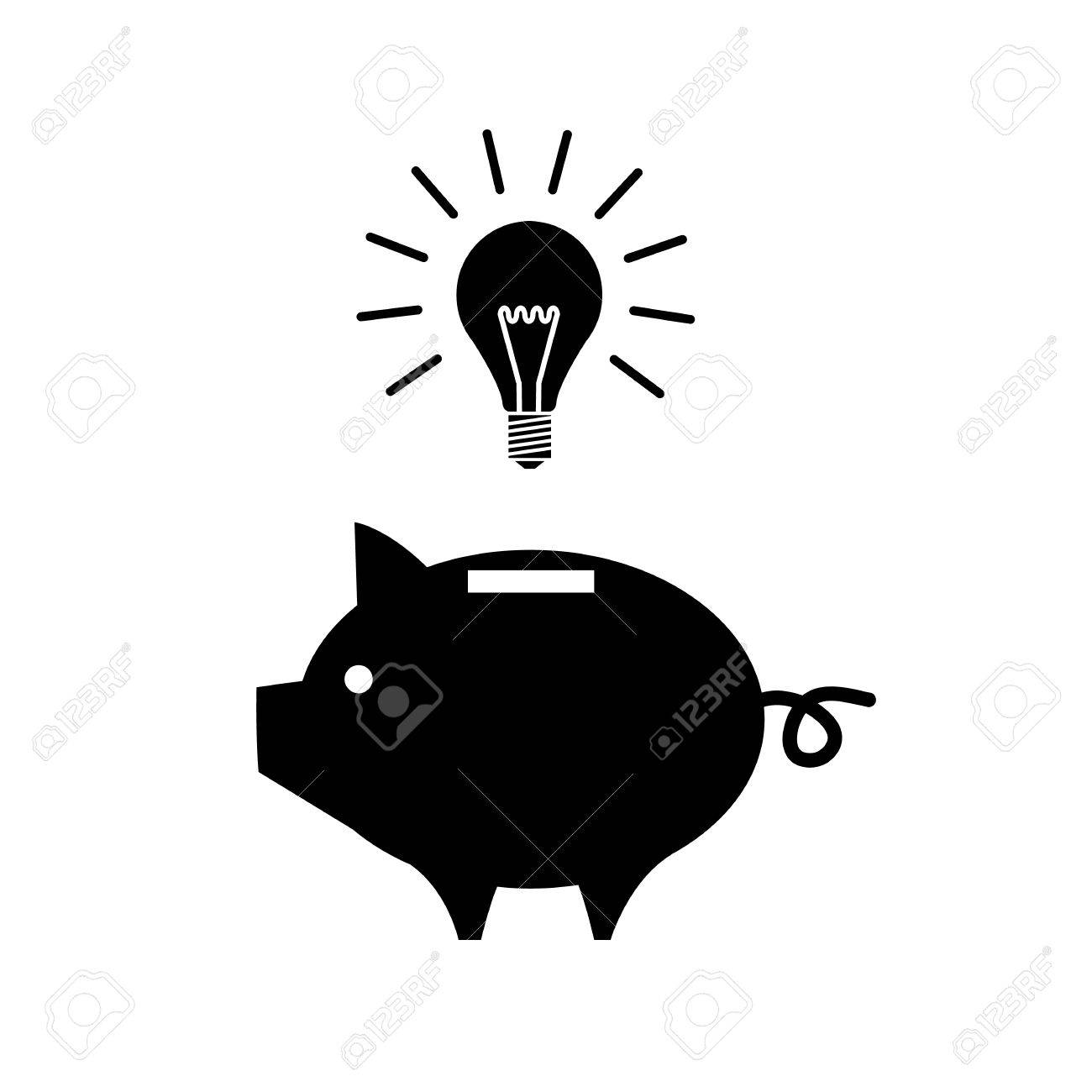Vektor Piggy Spardose Neue Idee Mit Glühlampe Symbol   Moderne ...