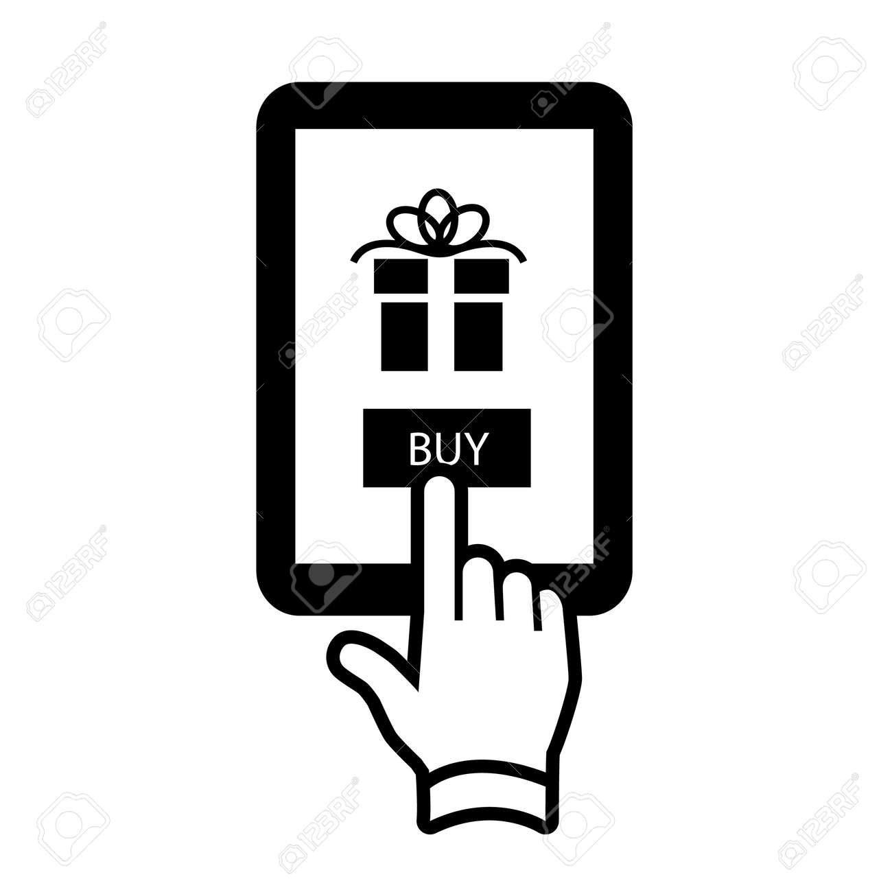 Vector Buying Gift Online On Tablet With One Finger Electronic ...