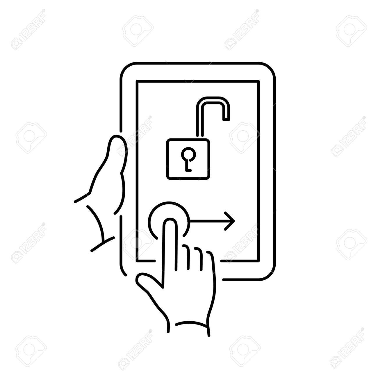 ロックを解除するホーム画面のジェスチャーでベクトルの線形タブレット アイコン フラットなデザイン黒の細い線モダンなイラストや白い背景で隔離のインフォ グラフィックのイラスト素材 ベクタ Image