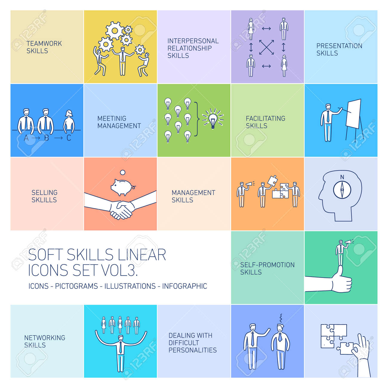 soft skills linear vector icons and pictograms set of human skills soft skills linear vector icons and pictograms set of human skills in business and teamwork on