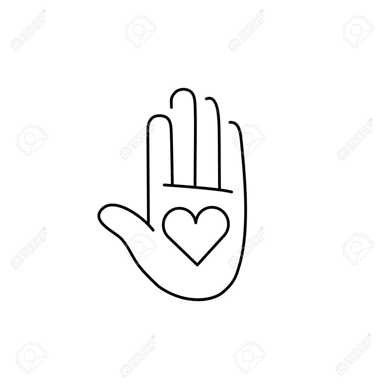 Heart in open hand palm black linear icon on white background heart in open hand palm black linear icon on white background flat design alternative healing buycottarizona Image collections