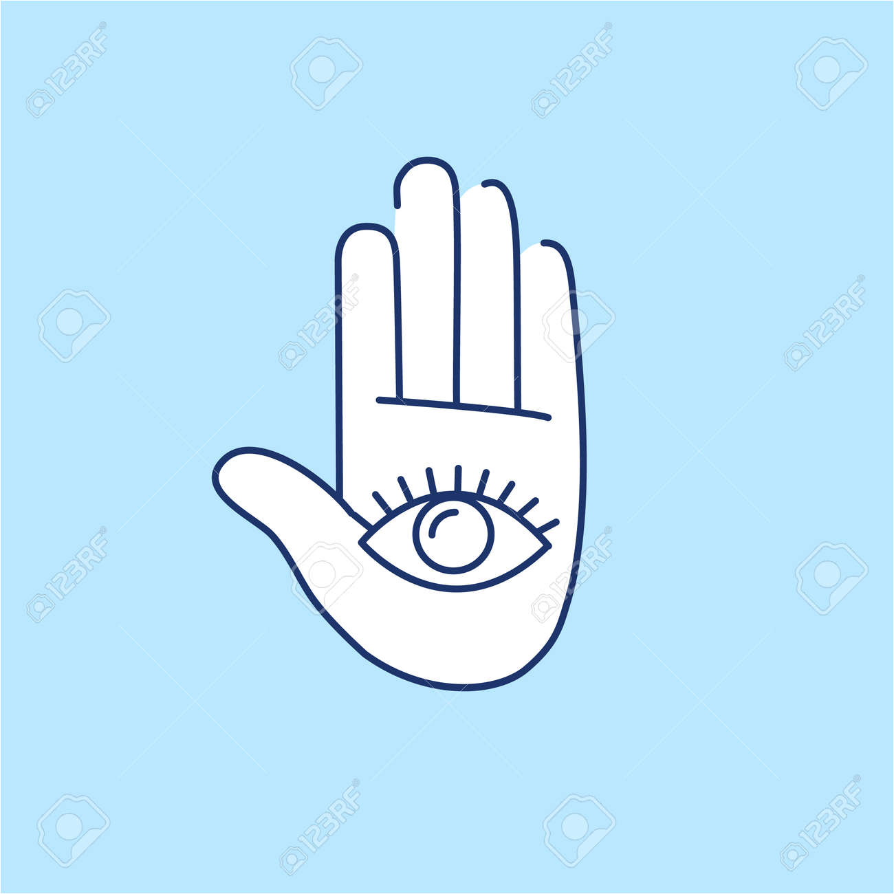 Eye in open hand palm white linear icon on blue background eye in open hand palm white linear icon on blue background flat design alternative healing buycottarizona Image collections