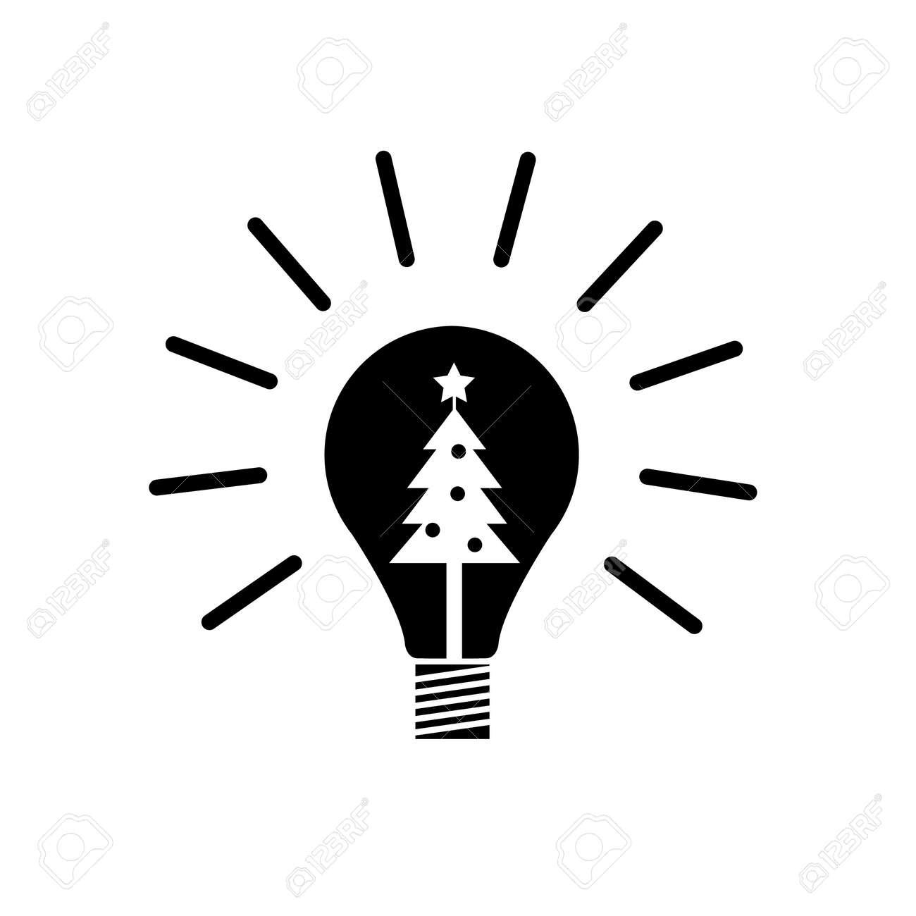 Vector Neue Idee Symbol Glühbirne Mit Weihnachtsbaum Innen | Schwarz ...