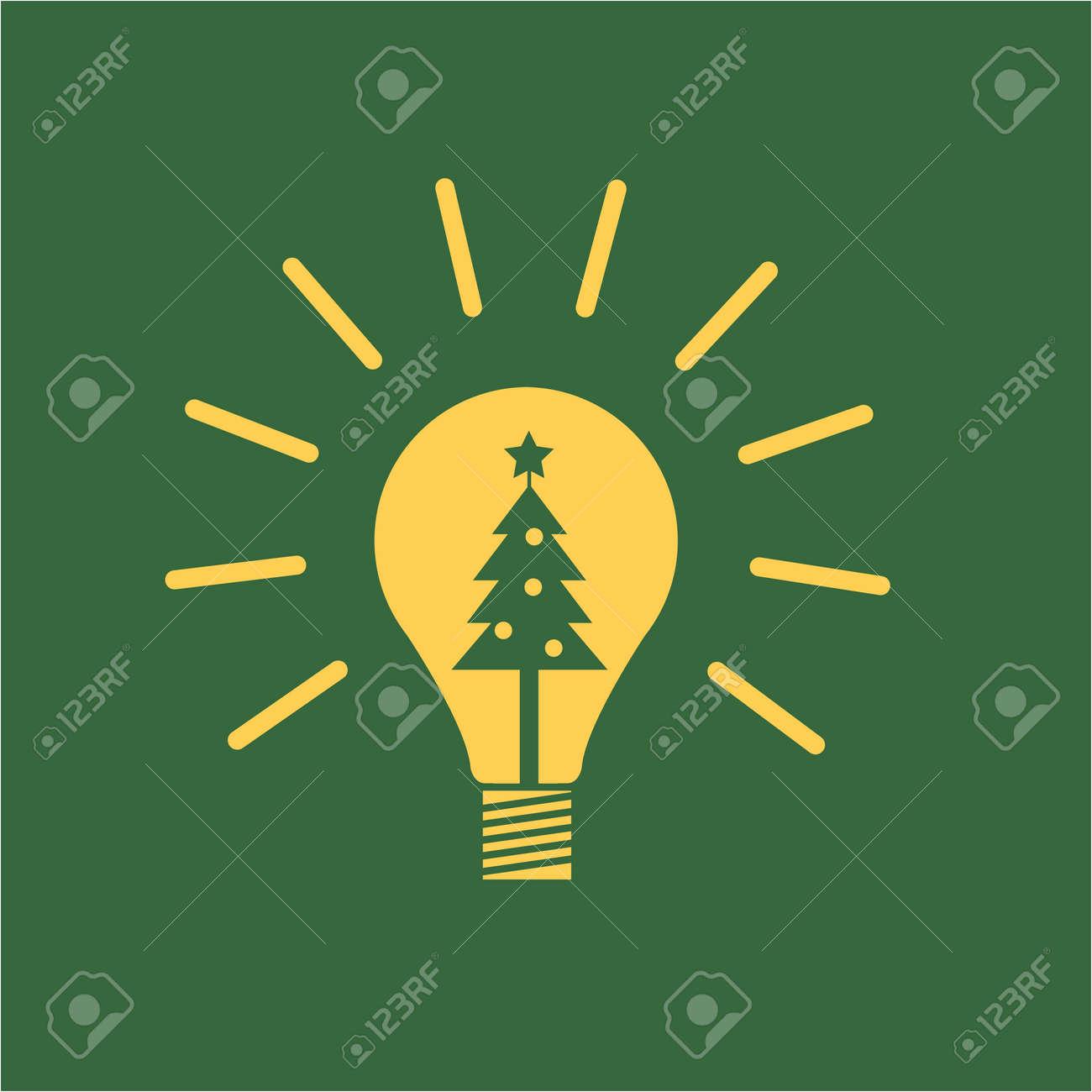 Vector Neue Idee Symbol Glühbirne Mit Weihnachtsbaum Innen | Gelb ...