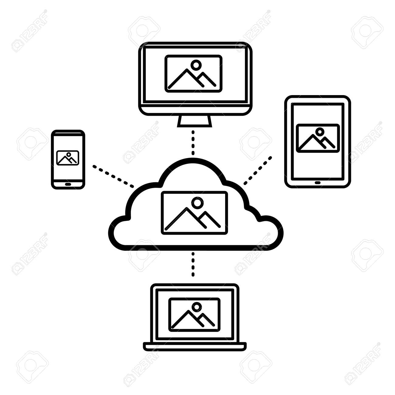 cloud computing storage for photography sharing vector linear