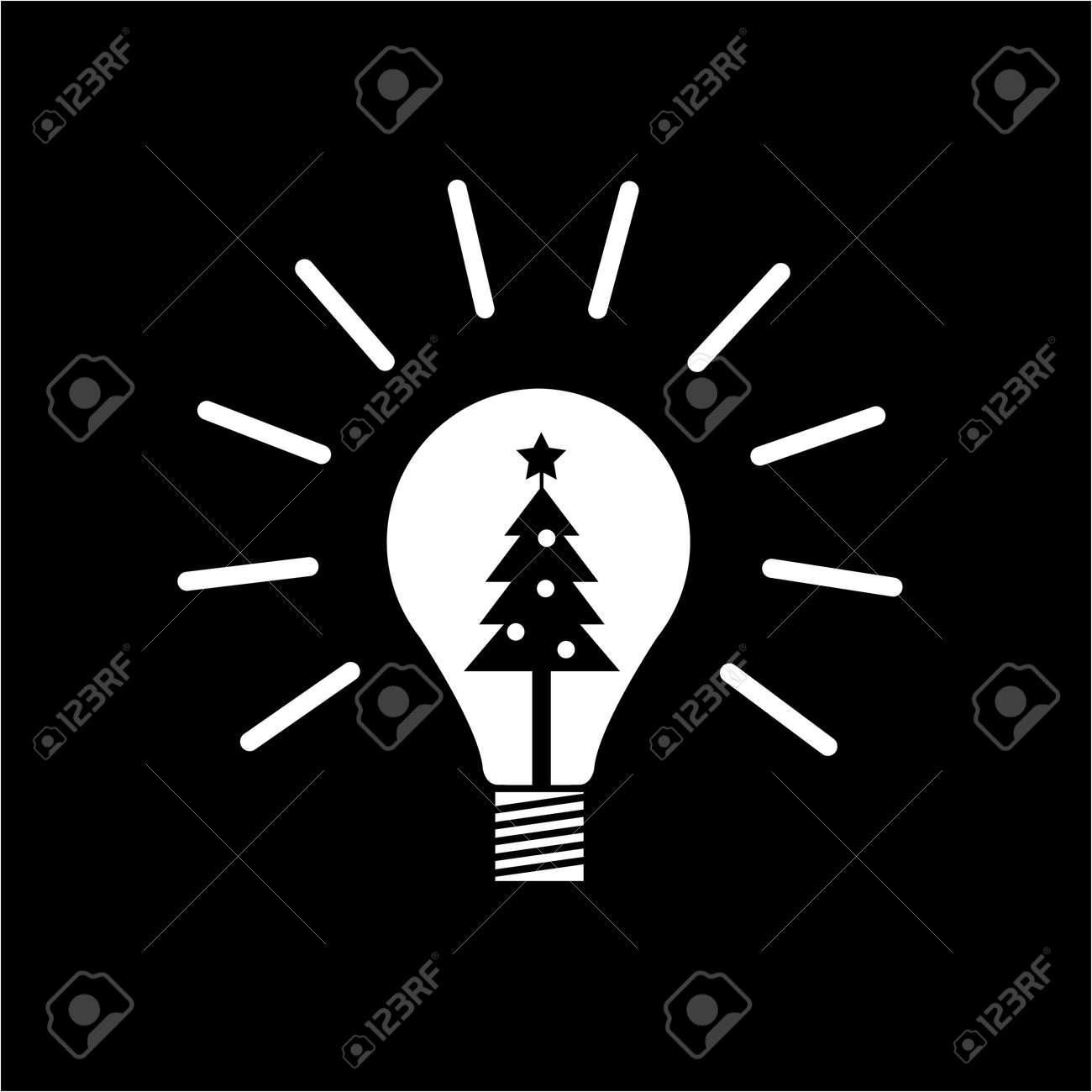 Vector Neue Idee Symbol Glühbirne Mit Weihnachtsbaum Innen | Weiße ...