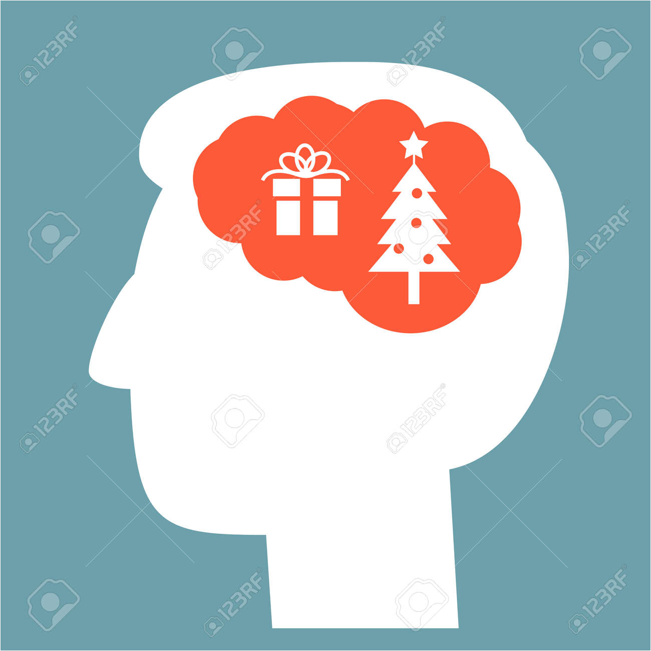 Christmas In Brain Head Full Of Gift And Christmass Tree Vector ...