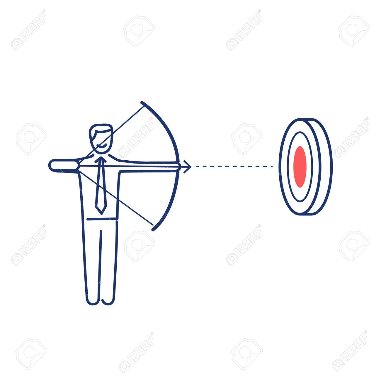 ターゲットを目指しますベクトルの目標に焦点を当てて弓矢を持った