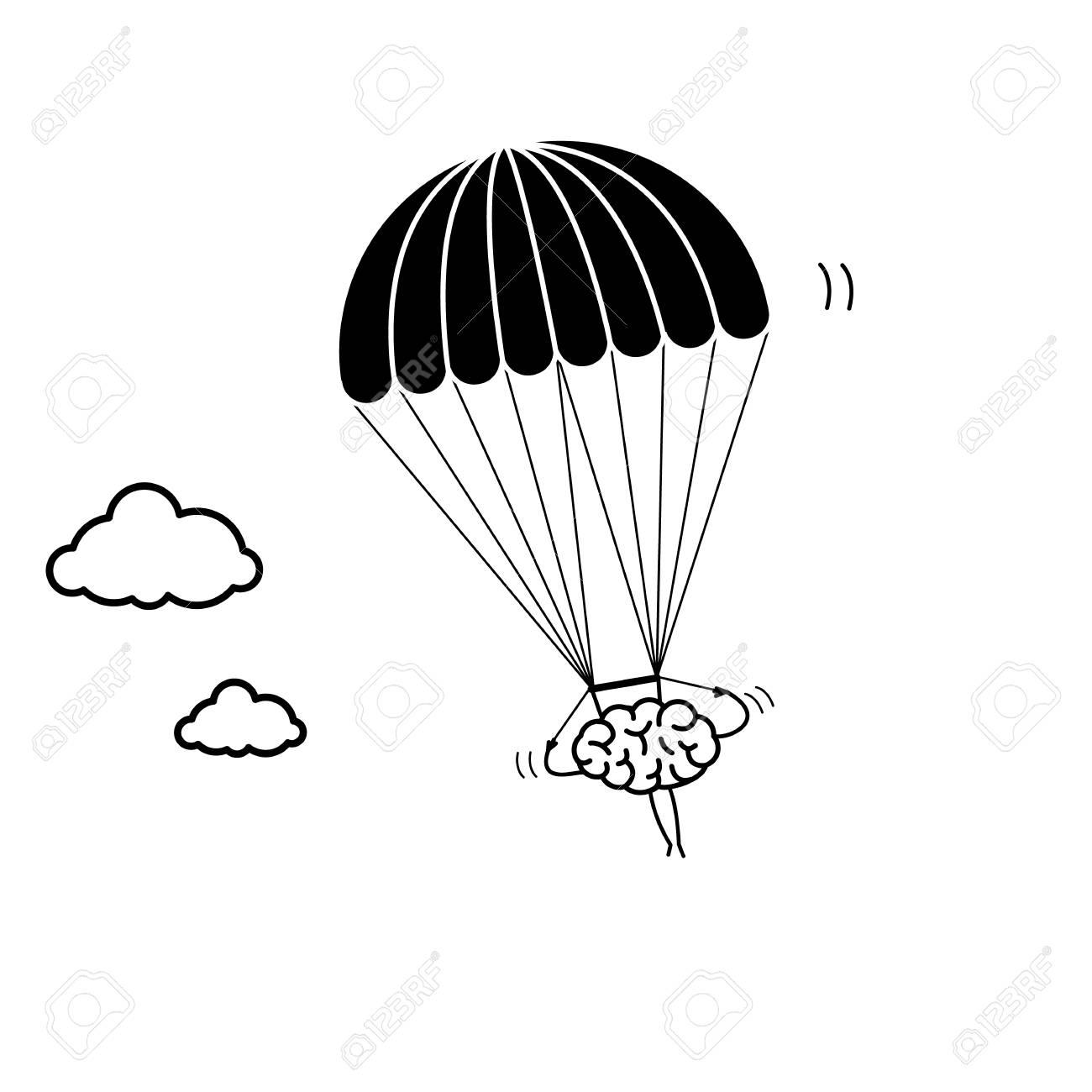 brain flying on parachute vector concept illustration of inventive rh 123rf com parachute vector image parachute vector micron