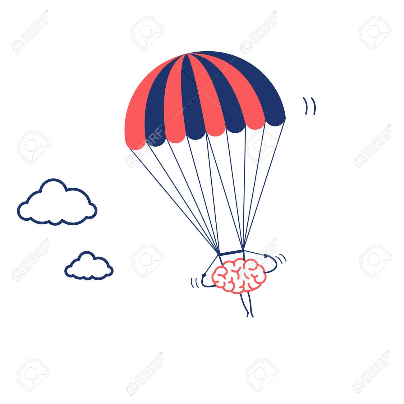 brain flying on parachute vector concept illustration of inventive rh 123rf com parachute vector free parachute vector free download