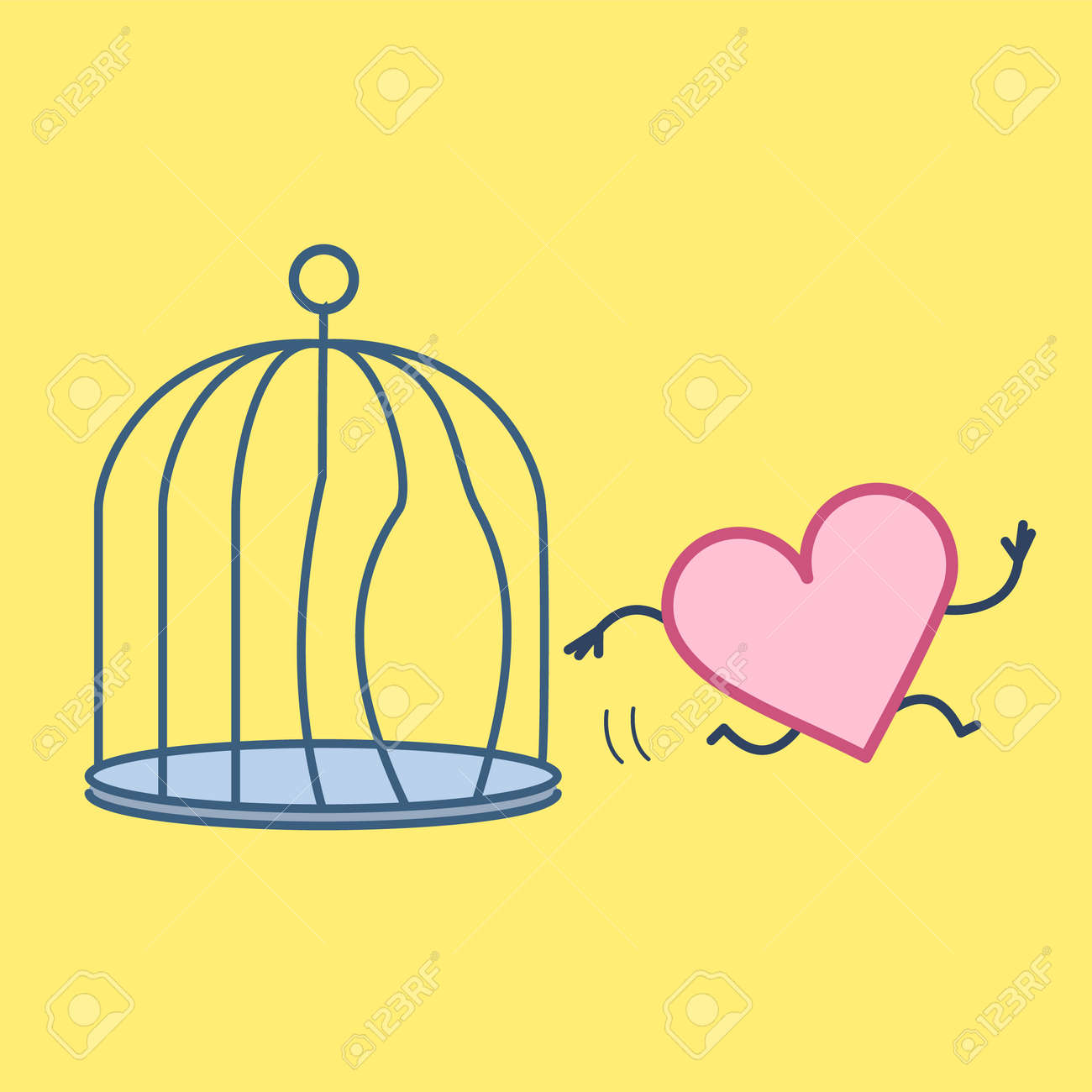 Heart escaping out of the bird cage. Vector concept illustration of free heart and soul running out of the prison | flat design linear infographic icon on yellow background - 110431236