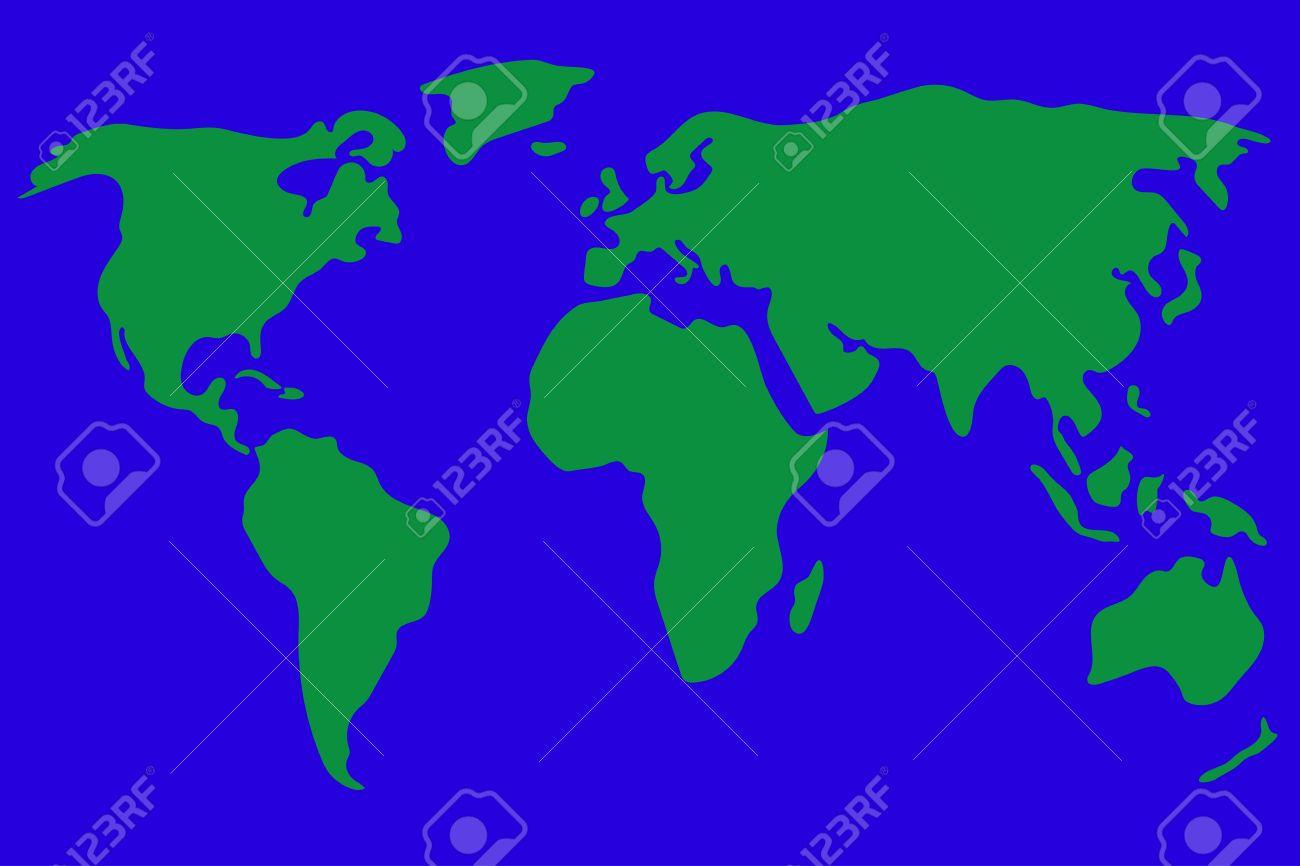 Weltkarte Vektor Illustration In Grun Und Blau Vereinfacht Und