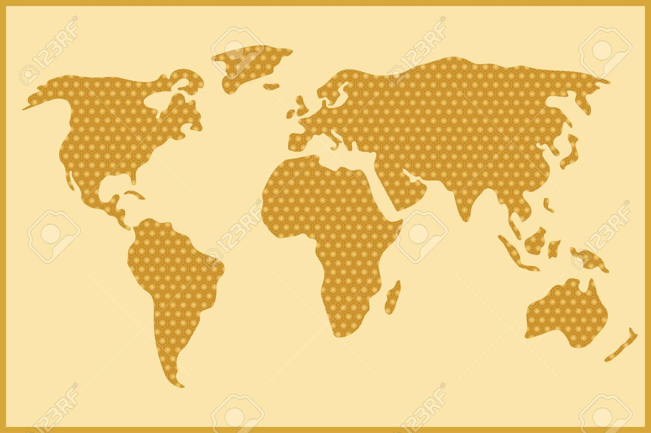 simple and schematic world map out of honey comb stock vector 53920849
