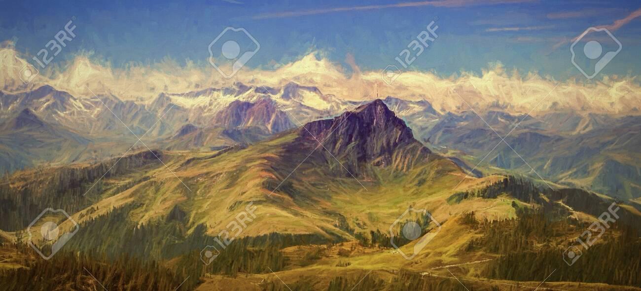 Panorama of Kitzbüheler horn, digital paiting. - 128379513