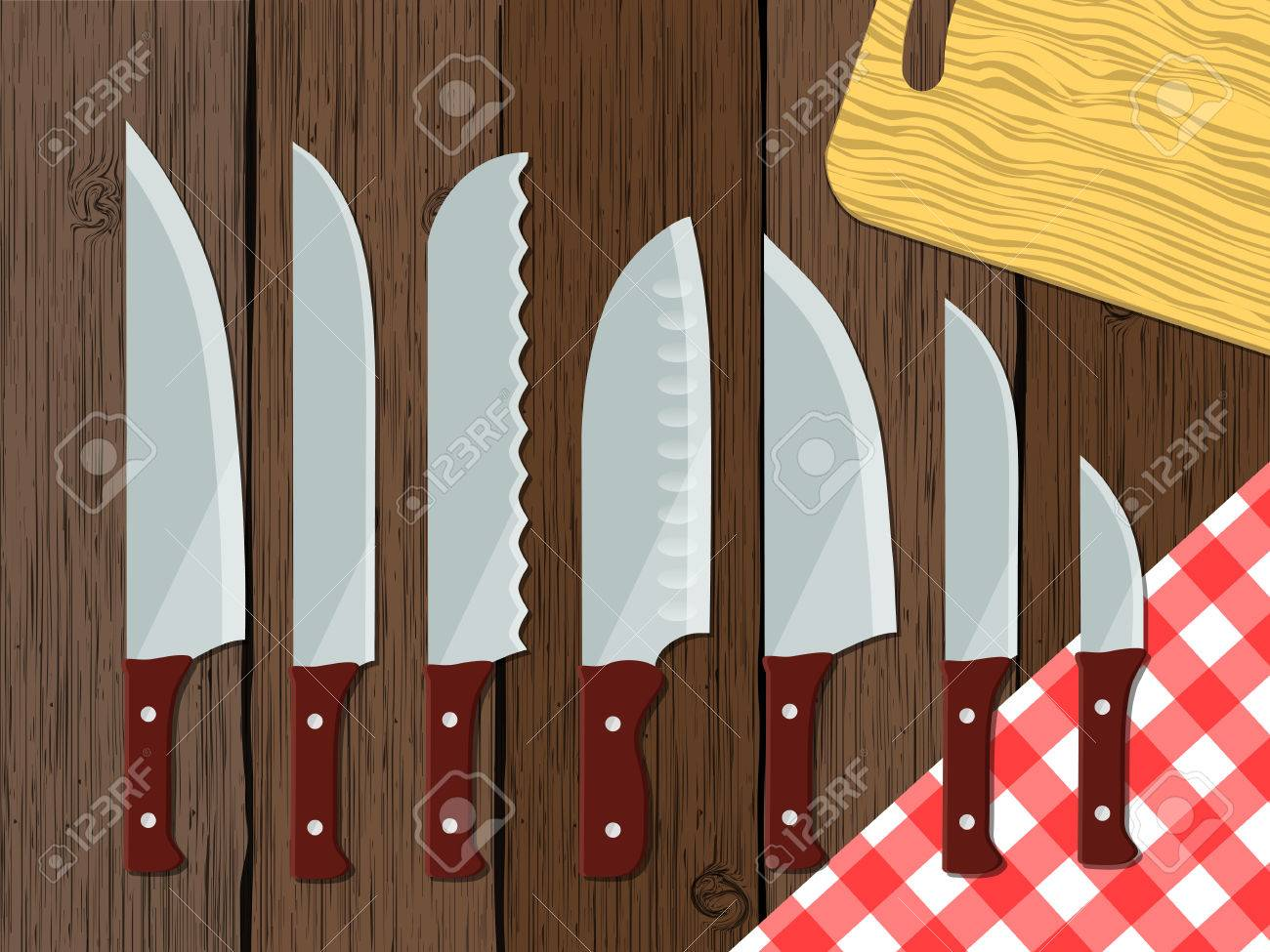 Set Of Kitchen Knives On The Wooden Table, Vector Illustration ...