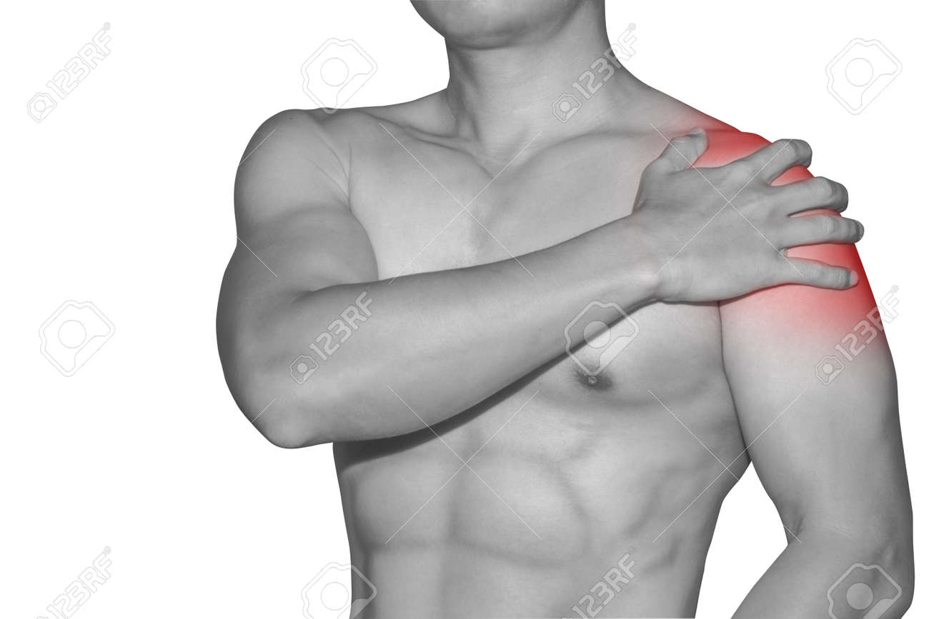 Man Left Shoulder Pain Deltoid Muscle Red Area Stock Photo Picture