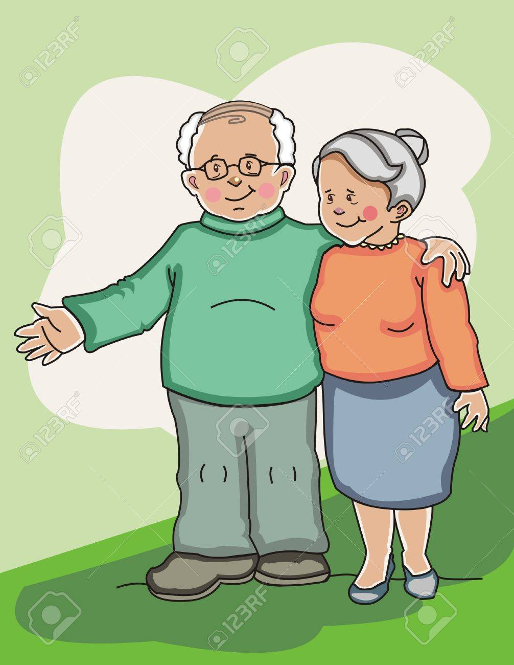 Happy senior couple standing side by side. Made in layers. Editable Stock Vector - 6174401