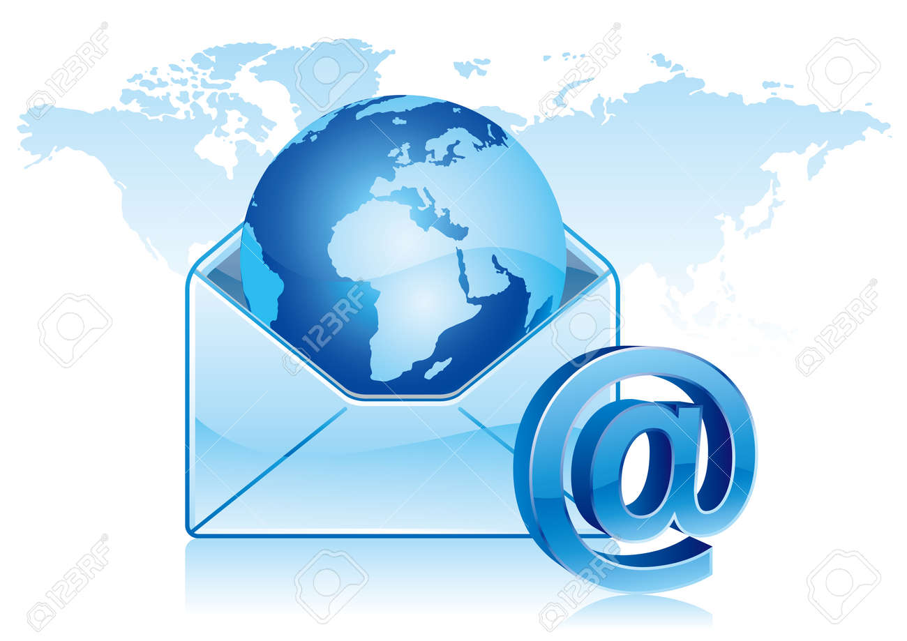 e-mail icon, global communication Stock Vector - 7499550