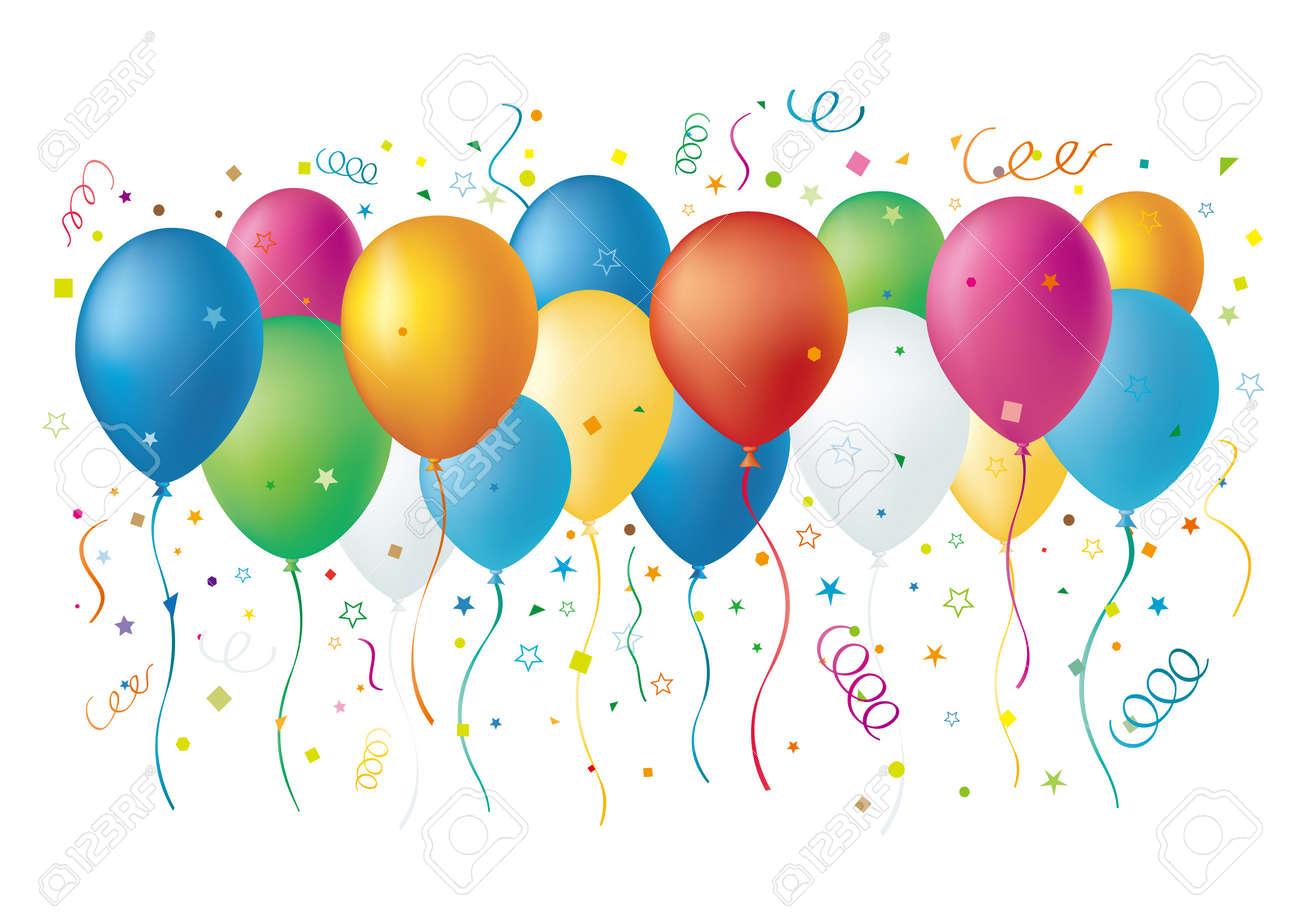 balloons,confetti,star,white background Stock Vector - 7528573