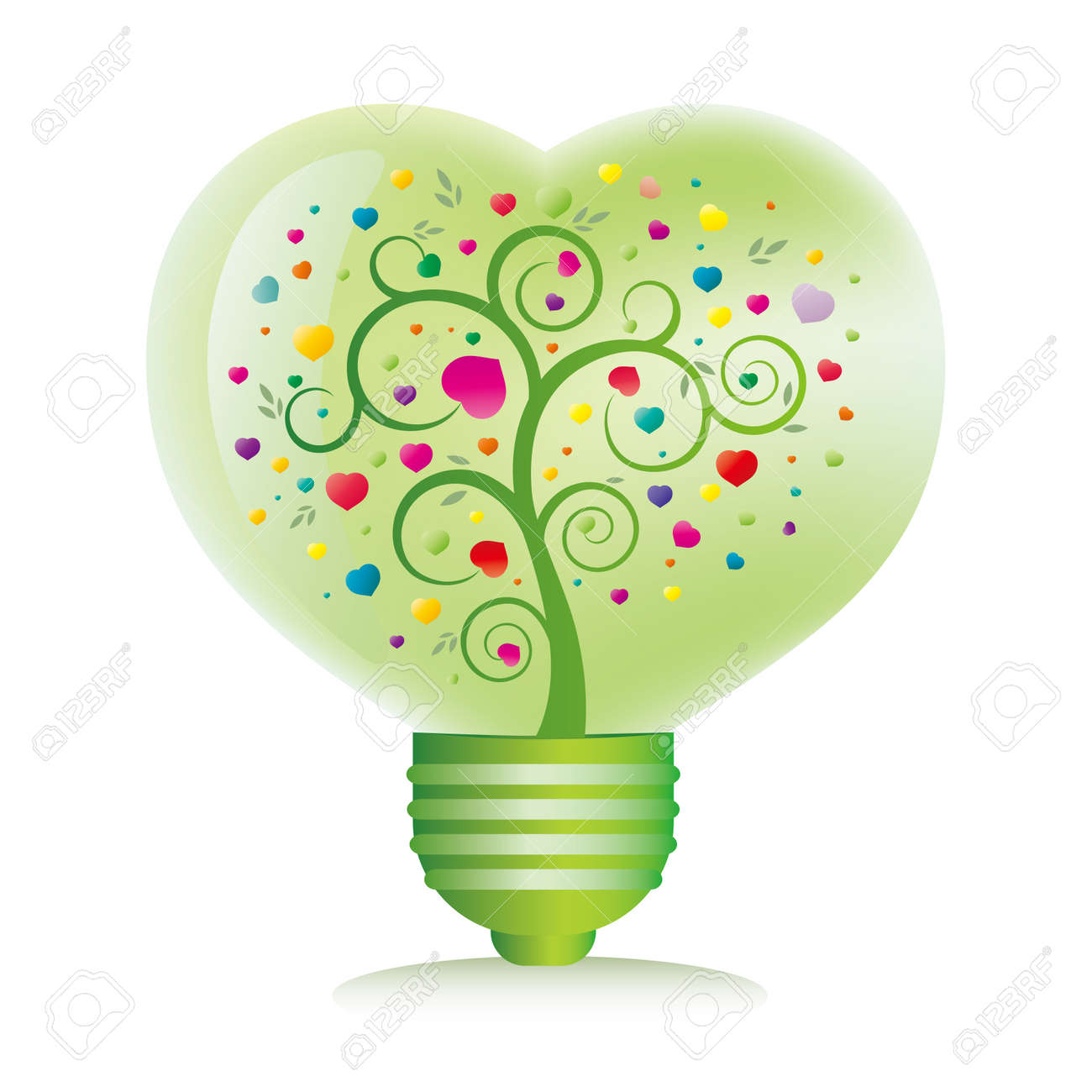 green heart light bulb isolated on white background Stock Vector - 7528508