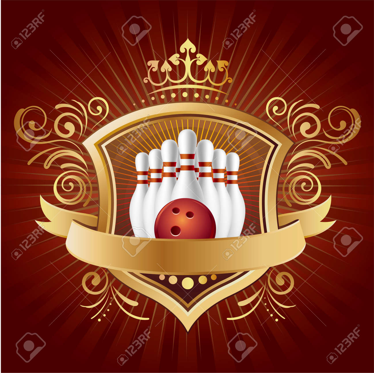 bowling,shield,crown,abstract background Stock Vector - 7580414