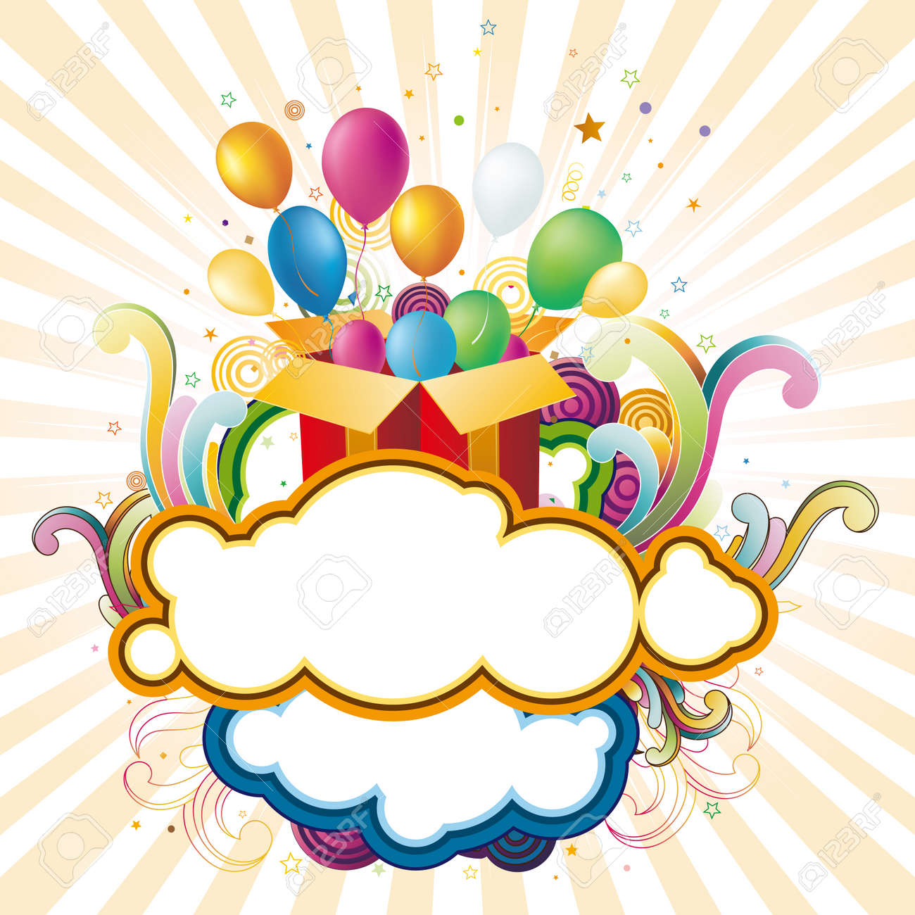 illustration of gift box and balloons Stock Vector - 7725496