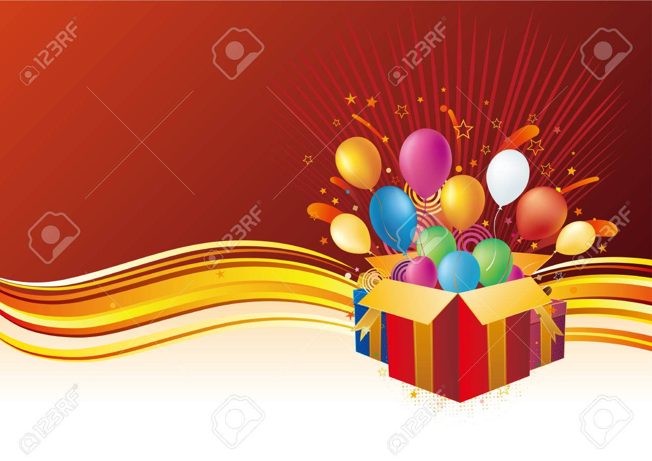 gift box and balloon, celebration background Stock Vector - 7958621