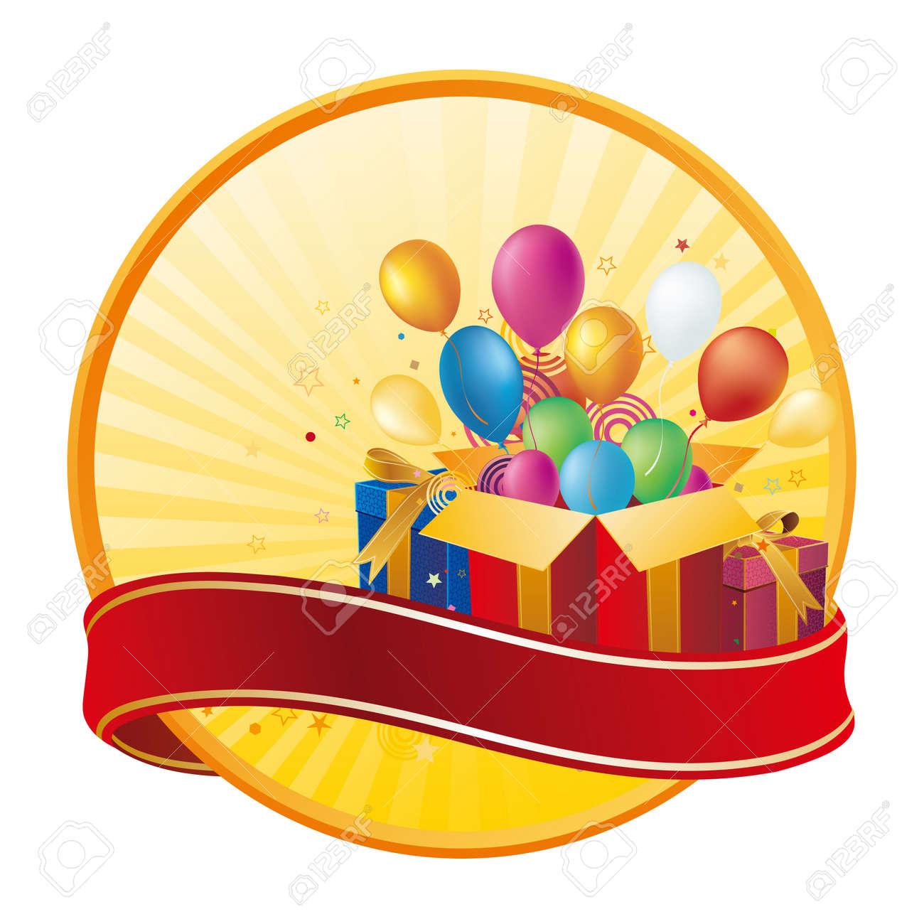 celebration design element,gift box and balloon Stock Vector - 7958620