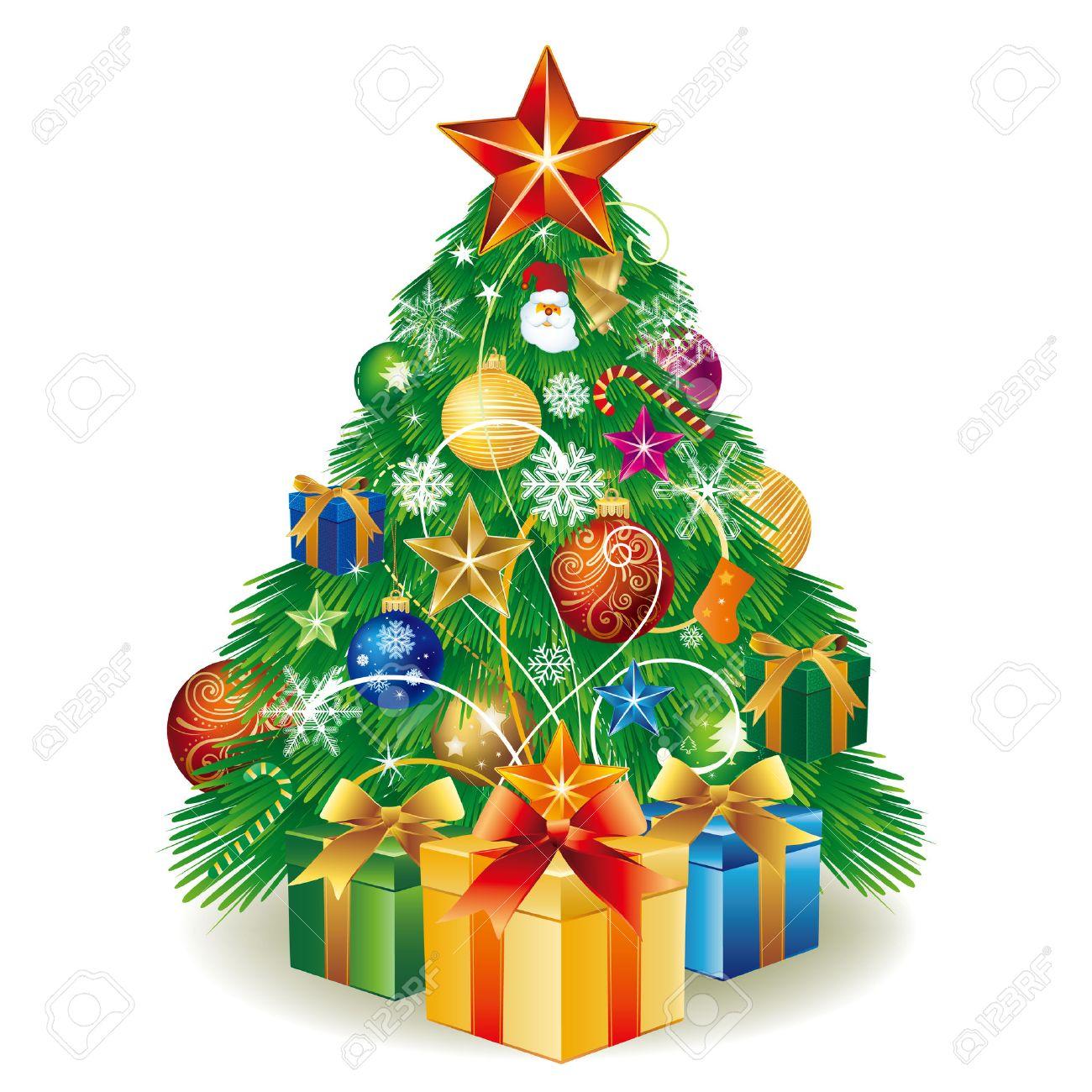 Abbildung Weihnachtsbaum Mit Geschenk-Box Und Bälle-Dekoration ...