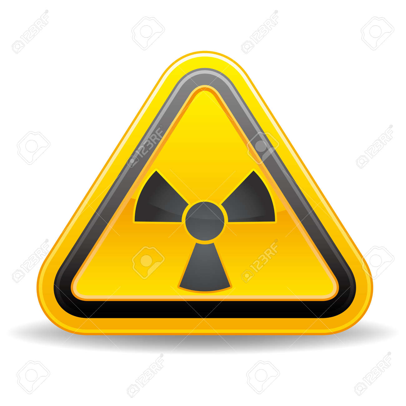 triangular nuclear warning sign on white background Stock Vector - 9034219