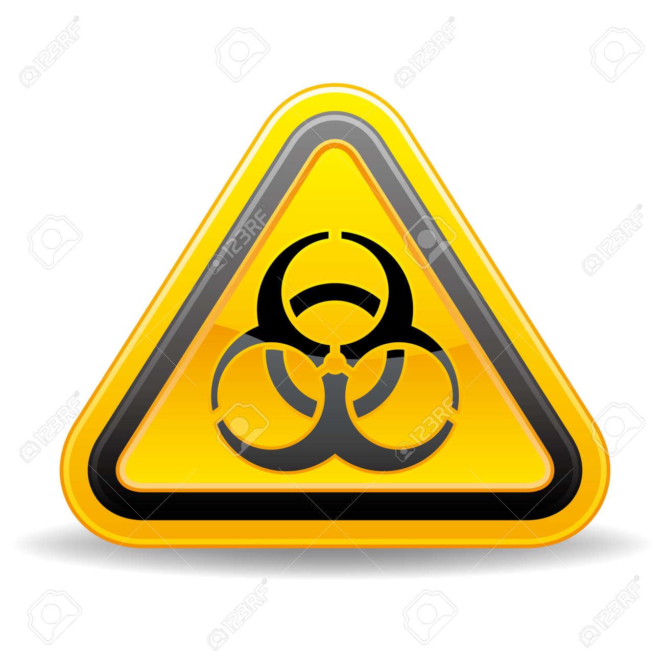 yellow triangular biohazard warning sign Stock Vector - 9126521