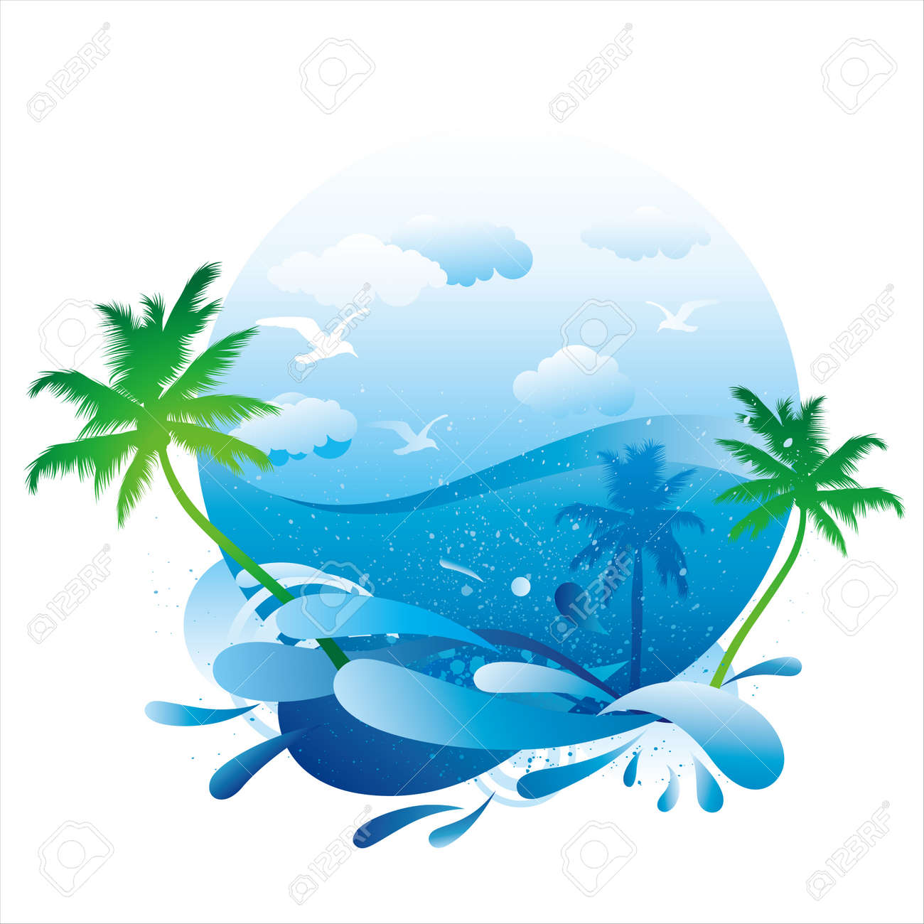 tropical beach with palm trees Stock Vector - 9776415