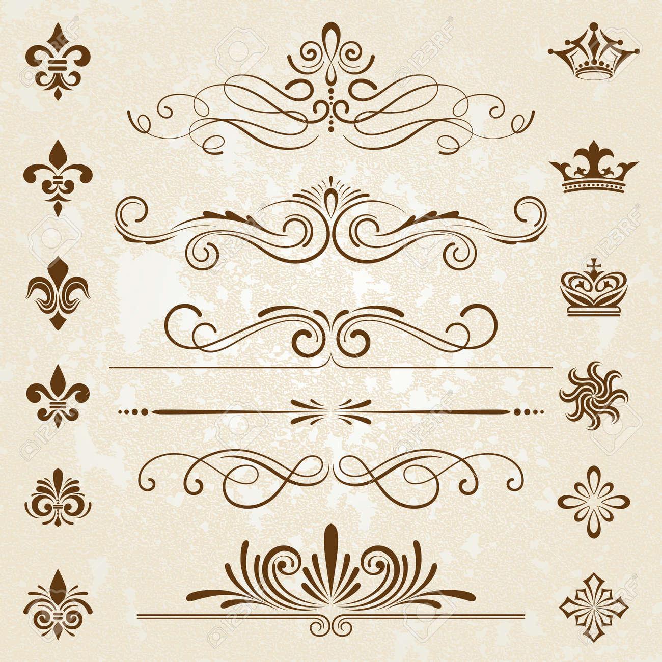 Vintage decoration design elements with page decor - 22066203