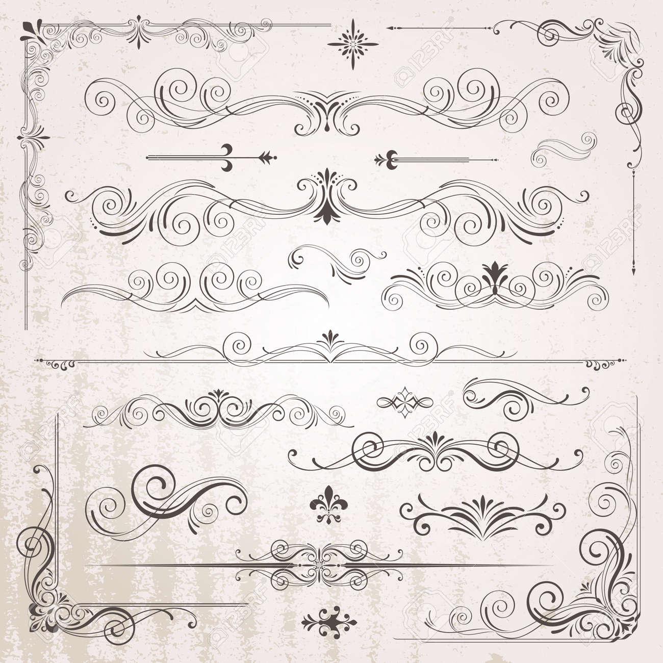 Vintage frames and scroll elements - 52745479