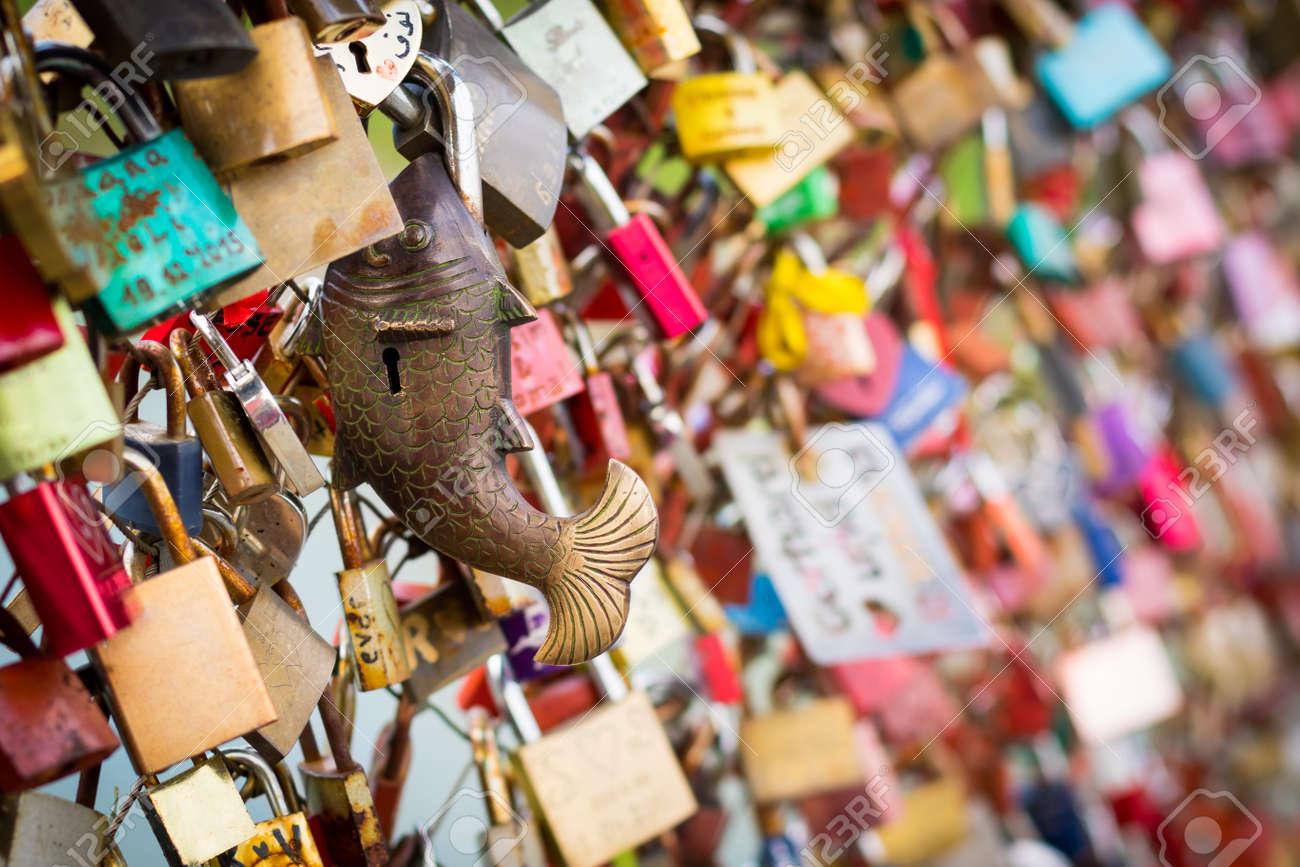 Close up of padlocks at a bridge as a symbol of everlasting love close up of padlocks at a bridge as a symbol of everlasting love stock photo biocorpaavc