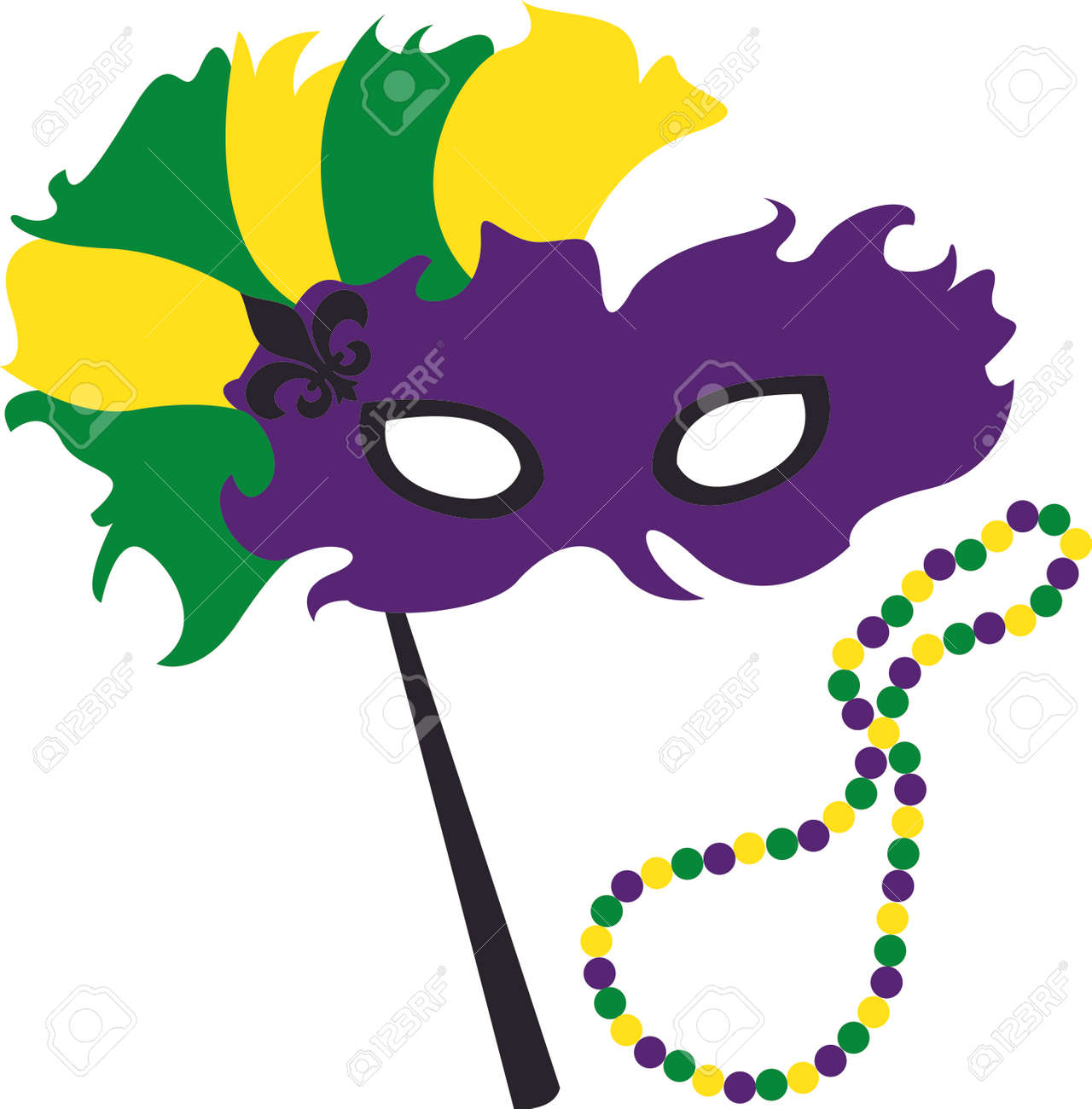 Use this masquerade mask for your Mardi Gras design. - 43681382