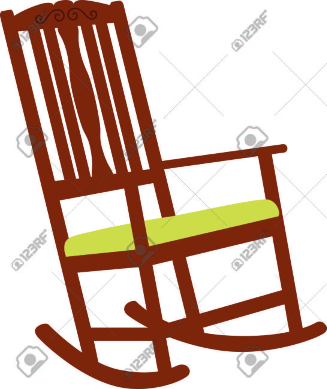 Wooden Rocking Chair With A Green Cushion A Perfect Design For