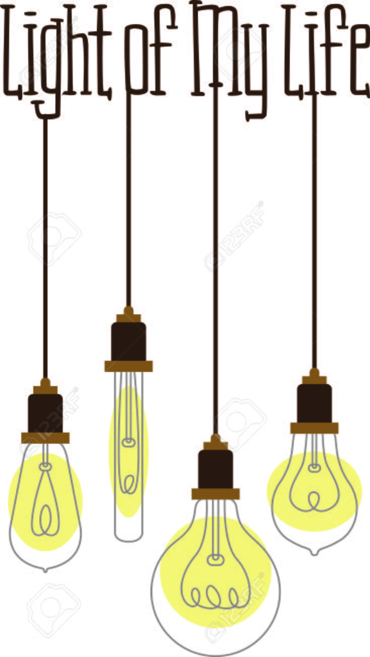 assorted hanging vintage light bulbs with curling wire filaments stock vector