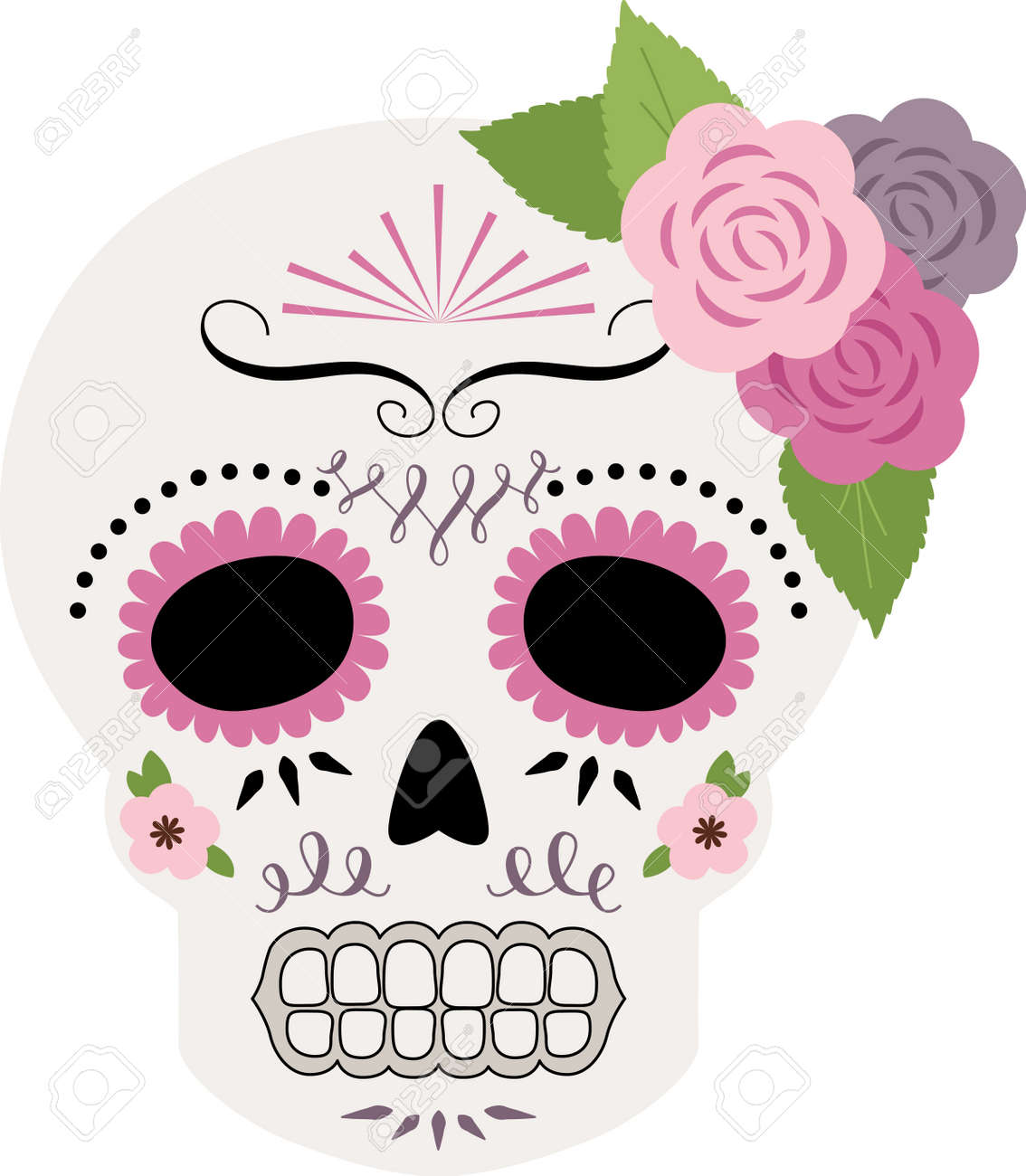 Celebrate the Dia de los Muertos with this light, pretty sugar skull design on throw pillows, holiday decorations, and more. - 43985419