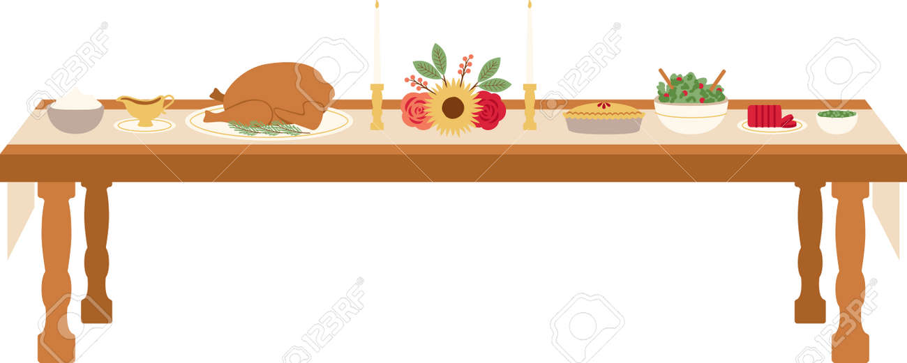 Celebrate Thanksgiving with this lovely table setting design. This will look great on banners, placemats, tote bags and more. - 61990467