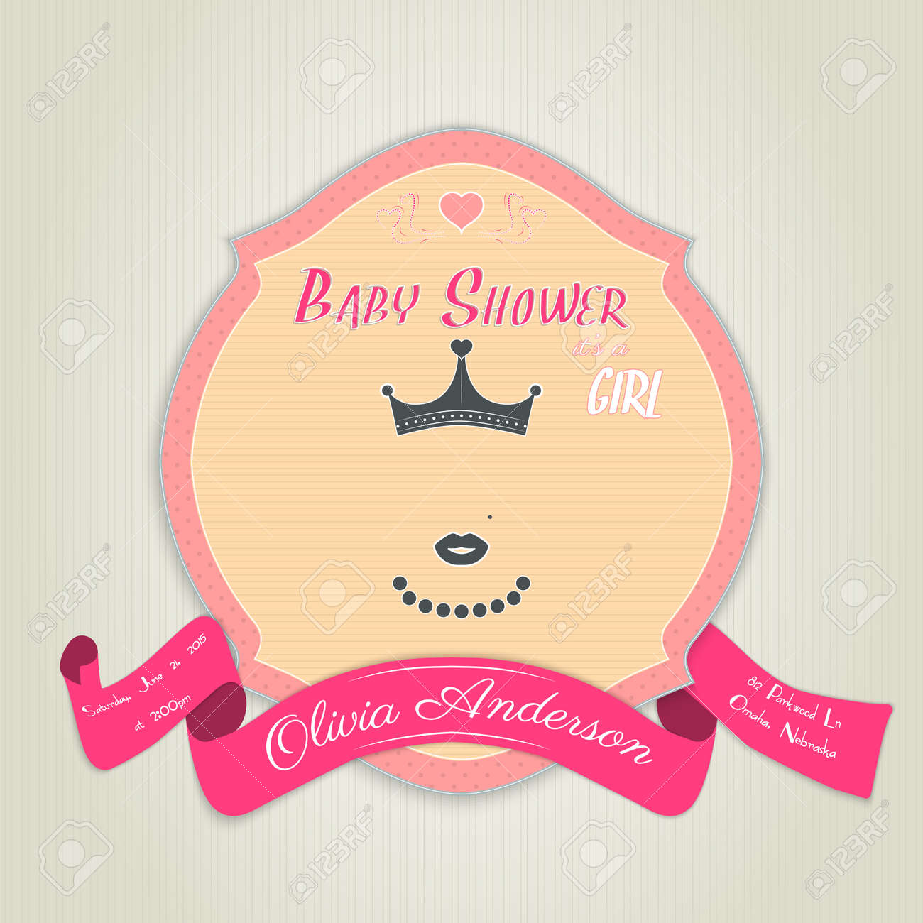 Baby Shower Invitation With Princess With A Crown, Lips And Beads ...