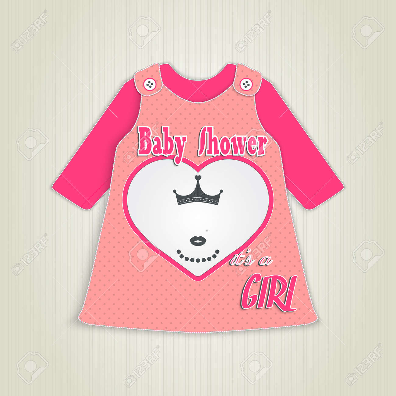 Card In The Form Of Clothing. Baby Shower Invitation With Princess ...