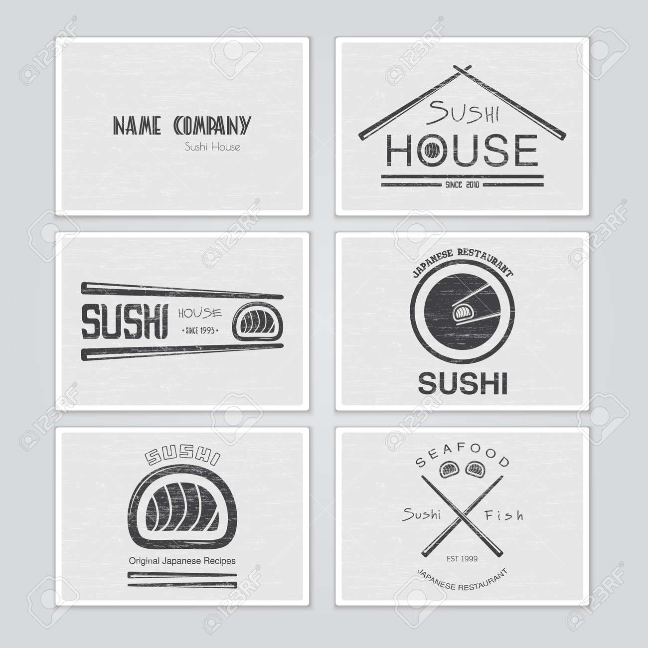 Sushi And Rolls A Set. Japanese Kitchen. Typographic Labels, Logos And  Badges.