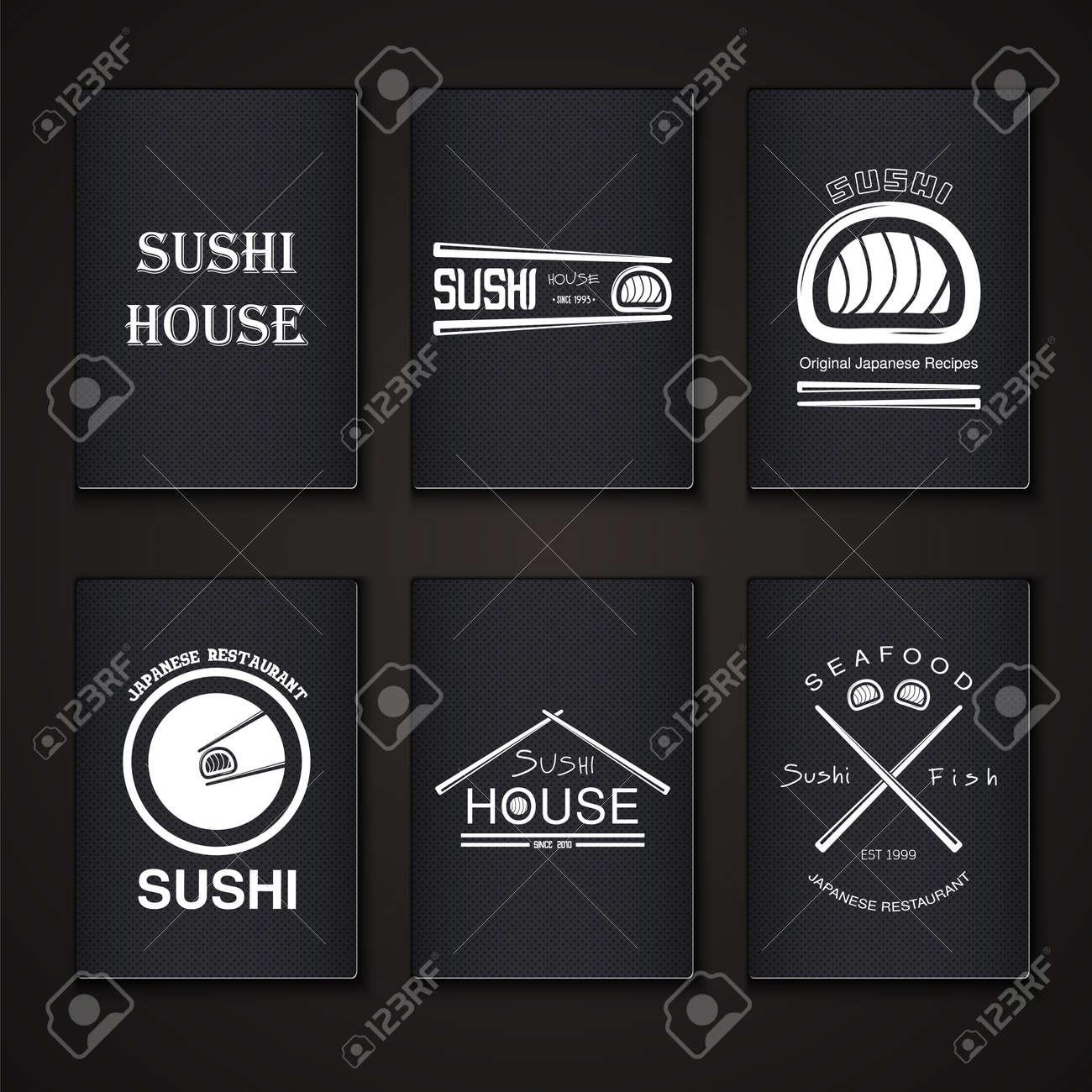 Sushi Und Rollen Ein Set. Japanische Küche. Typografische Etiketten ...